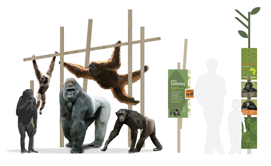 exhibit design, environmental graphics, signage, interactive, main street design, Oregon Zoo